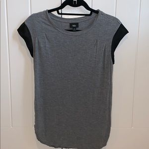 Gray tee with leather accent sleeves